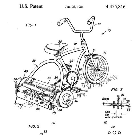 design idea patent patent news blog crazy inventions pedal operated mower