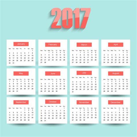 Calendario Para Descargar 2017 Calendario 2017 Sobre Un Fondo Azul Descargar Vectores