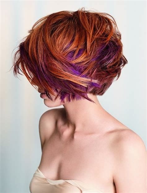 hair styles that are and layerd with purple die in it 24 really cute short red hairstyles styles weekly