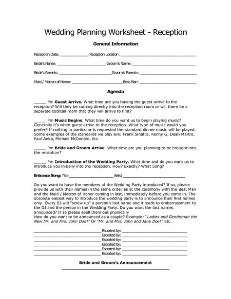 printable wedding planning workbook 20 best images of simple wedding planning worksheets