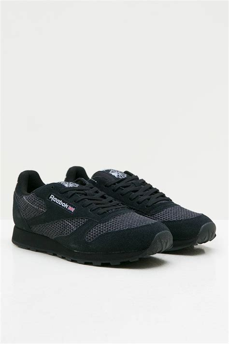 sell reebok cl leather knit mono black sneakers