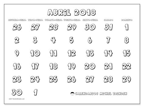 Calendario Abril 2018 Calend 225 Para Imprimir Abril 2018 Hilarius Portugal