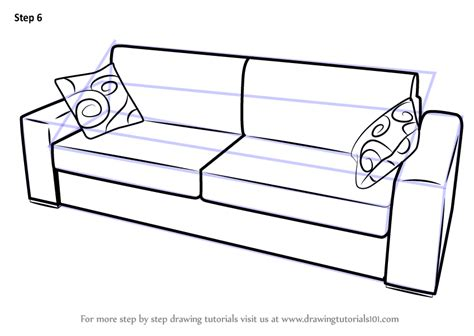 How To Draw A Sofa learn how to draw sofa with cushions furniture step by