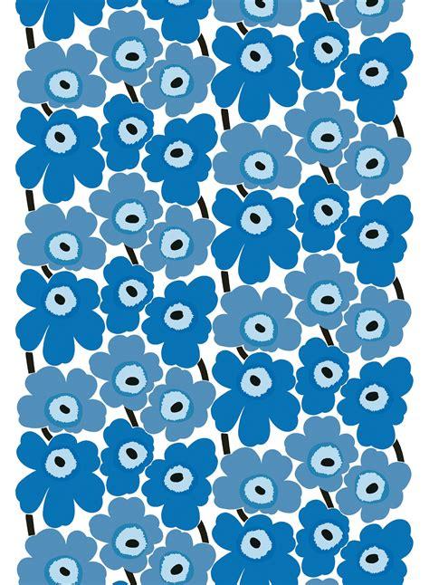 marimekko stoffe pieni unikko cotton fabric white blue marimekko