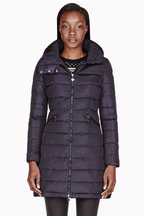 Navy Quilted Coat S by Moncler Navy Quilted Flamme Coat In Blue Navy Lyst
