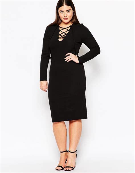 Lace Up Midi Bodycon Dress club l plus size midi bodycon dress with lace up front in