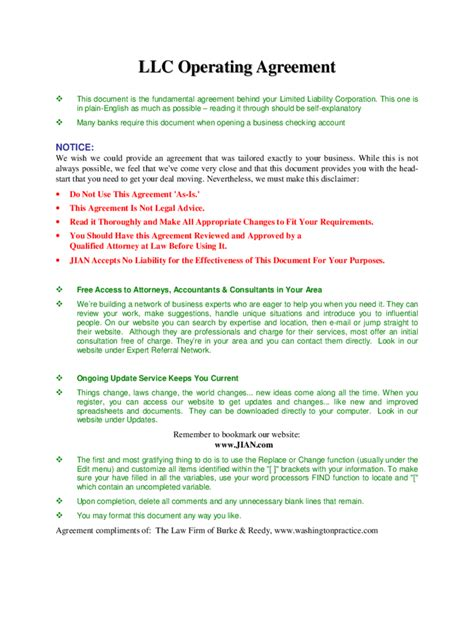 llc operating agreement template llc operating agreement template 6 free templates in pdf