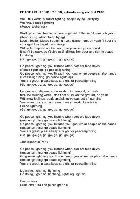 Grease Lighting Song Lyrics by Ssc1516 Lyrics Sant Josep Nav 224 S Peace Lightning Lyrics
