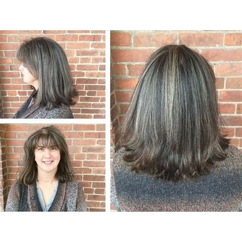 how to blend in gray roots of black hair with highlig 40 best images about hair styles on pinterest for women