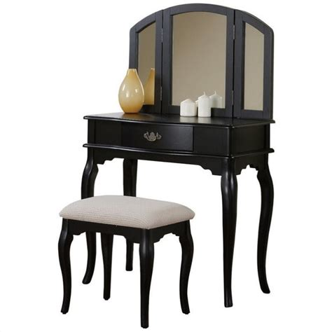 black bedroom vanity table poundex bobkona jaden vanity set with stool in black f4067