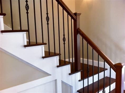 Spindle Banister by Wrought Iron Spindles With Poplar Stairs Traditional