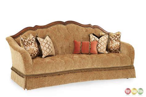 wood trim fabric sofas villa valencia traditional wood trim tufted fabric 94