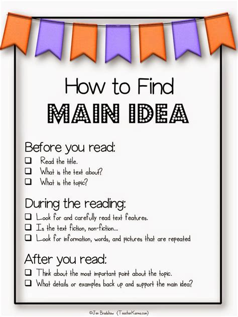 printable main idea poster teacher karma free resources for main idea and topic