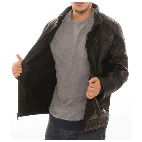 Jaket Parka Canpas Poket Zipper s motorcycle bomber faux leather jacket fleece lined