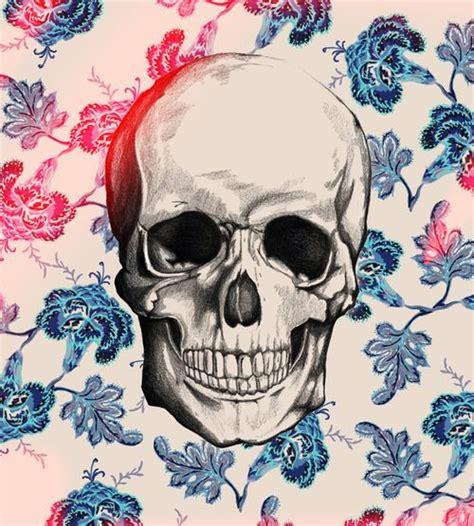 wallpaper tumblr skull illustration cool hipster indie draw blue wallpaper skull