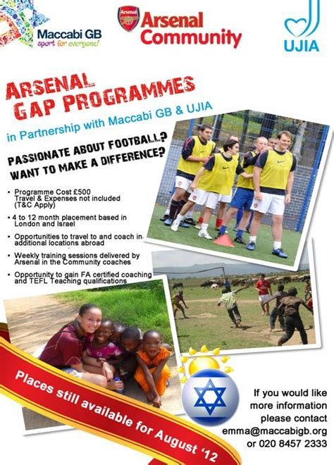 arsenal israel spend your gap year in israel with arsenal maccabi gb