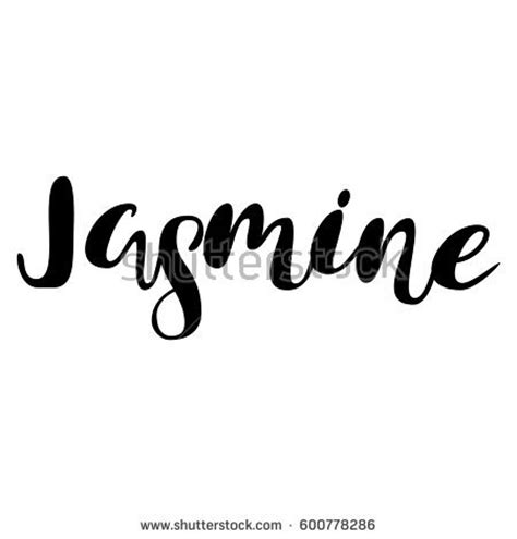 jasmine tattoo font inspire brush hand lettering handwritten words stock