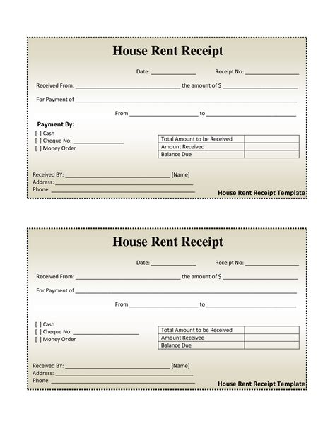 rental receipts template free house rental invoice house rent receipt template
