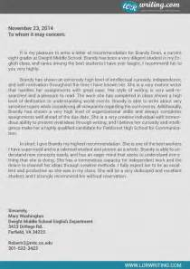 Letter Of Recommendation For A Highschool Student From A by Professional Sle Letter Of Recommendation For High