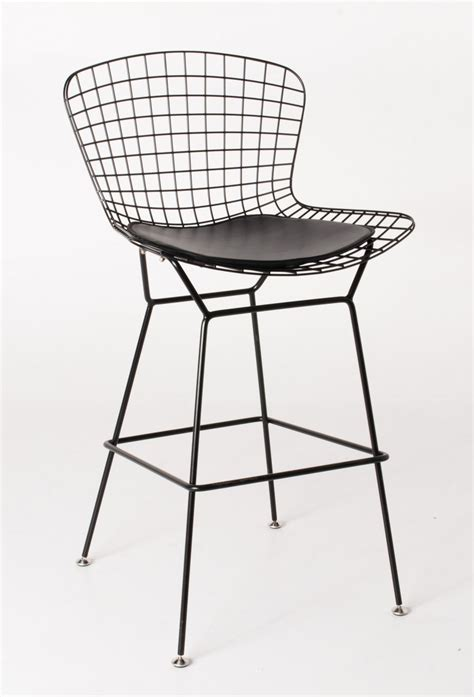 Bertoia Bar Stool Black by Harry Bertoia Wire Barstool Black Powdercoat Various