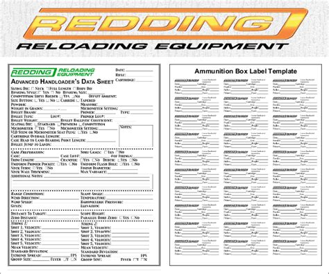 Reloading Data Spreadsheet by Free Printable Reloading Data Sheets And Box Label