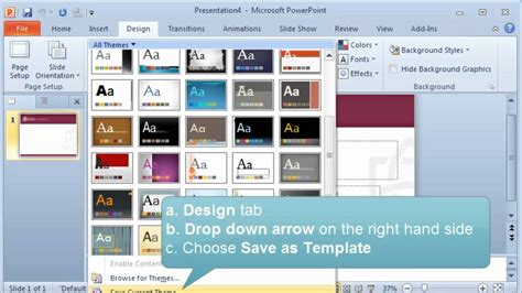 add themes to powerpoint 2010 creating and setting a default template or theme in