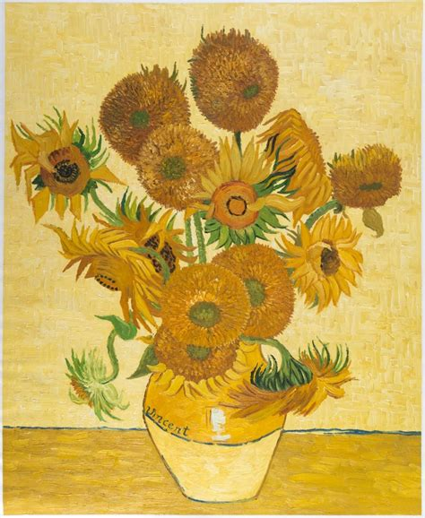 Vase With Fifteen Sunflowers by Still Vase With Fifteen Sunflowers Painting