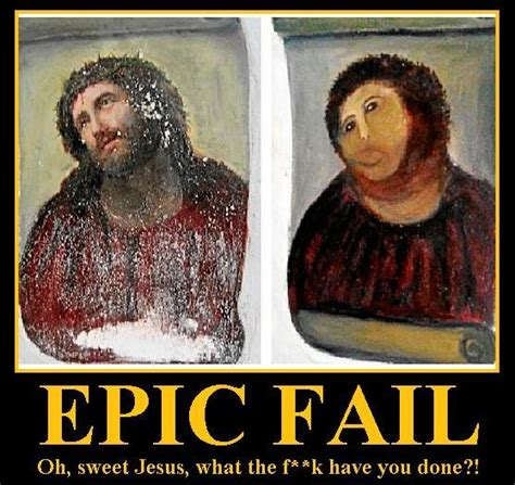 Bad Jesus Memes - image 386578 botched ecce homo painting know your meme