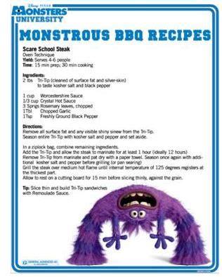 printable bbq recipes printable bbq recipes on behalf of monsters university
