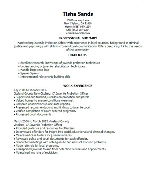 Probation And Parole Officer Sle Resume by Professional Juvenile Probation Officer Templates To Showcase Your Talent Myperfectresume