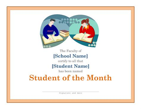 student of the month template templates certificates simple certificate for student of