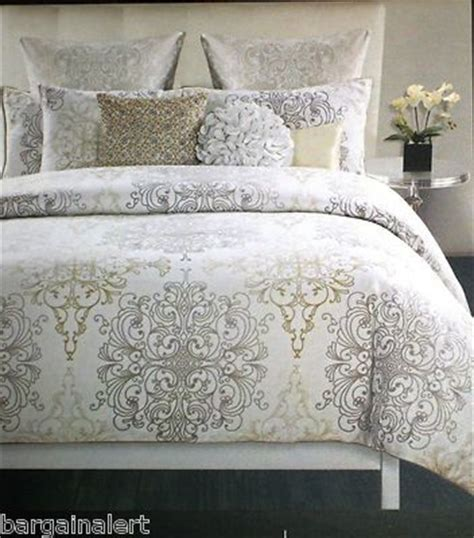 gold and silver comforter sets tahari medallion damask scroll king duvet cover 3pc gold