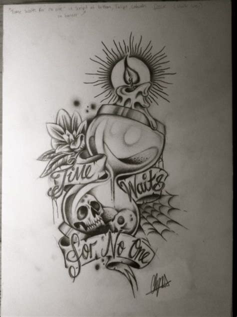 time waits for no one tattoo hourglass pencil drawing by itchysack skull candle time