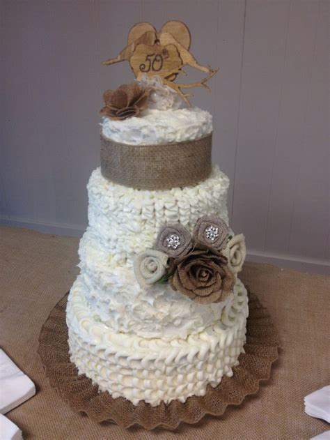 wedding cake for 50th wedding anniversary of my and burlap lovebirds fabric