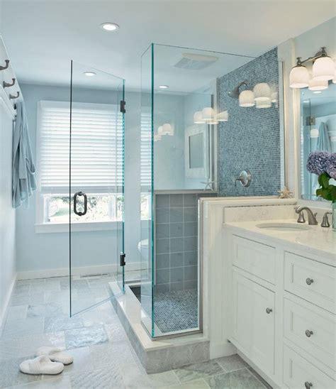 small bathroom ideas crafting in the rain blue glass shower tiles transitional bathroom donna