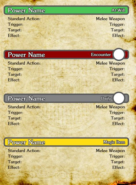 d d character ability card template d d 4th edition character card template photoshop