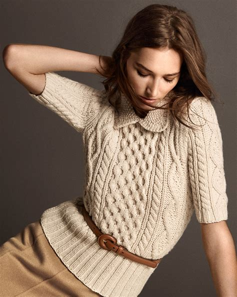 Sweater 10179760 White Knitting michael kors aran cable knit collared sweater in white lyst