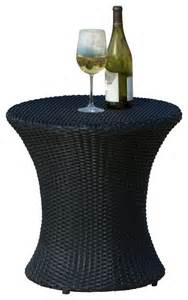 Wicker Accent Table Lorenzo Outdoor Wicker Accent Table Black Contemporary Outdoor Side Tables By Great Deal