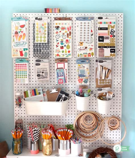 Pegboard Kitchen Ideas upcycled craft room organization pebbles inc