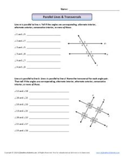 lines and transversals worksheet answers parallel lines transversals 8th grade geometry worksheets