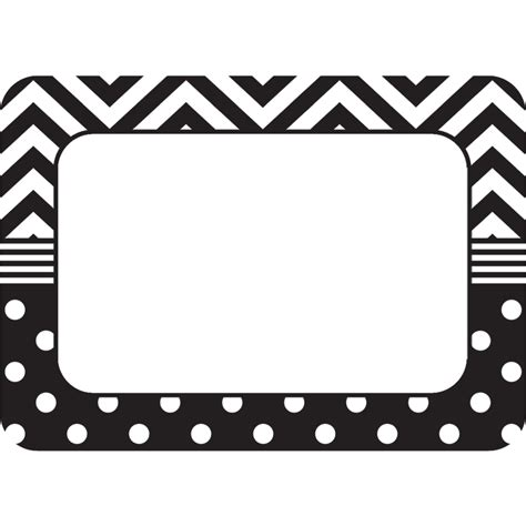 black and white names black white chevrons and dots name tags labels tcr5548 created resources