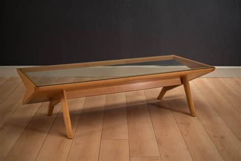 brown saltman glass coffee table by keal at 1stdibs