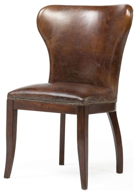 rustic leather dining chairs cornelius top grain cigar brown leather wood dining