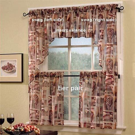 grape kitchen curtains 36 quot tastings wine print sheer tier curtain pair by s
