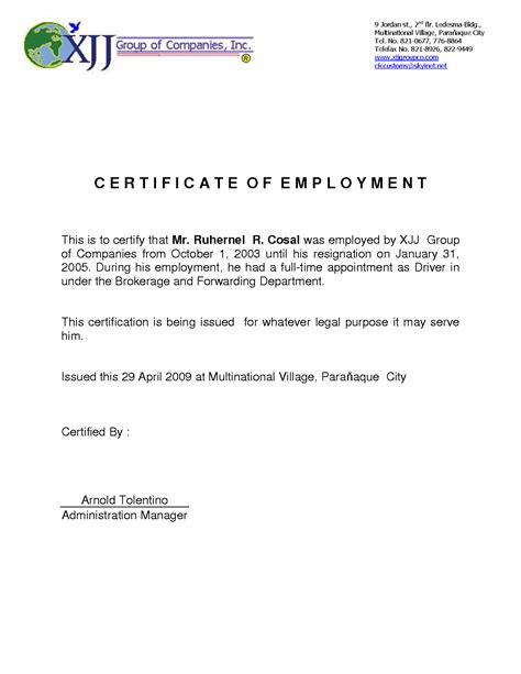 certification of employment letter exle 9 best images of certificate of employment template