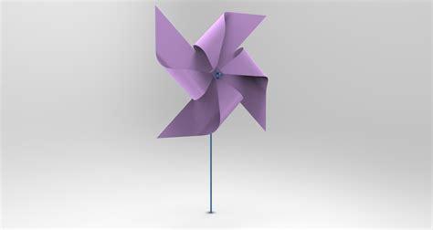 A Paper Windmill - kitiran paper windmill step iges 3d cad model