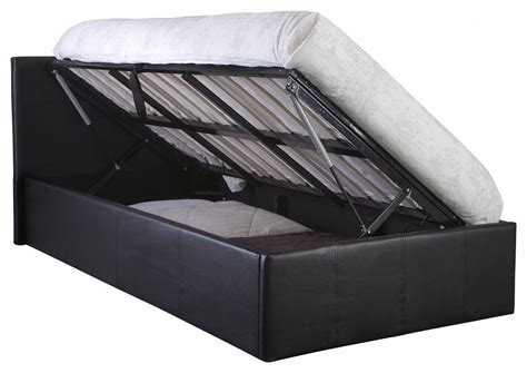 Ottoman Storage Bed Single Side Lift Up 3ft Ottoman Bed Single Faux Leather Storage Bed Black