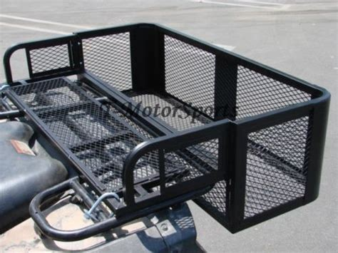 atv utv drop rear steel cargo carrier basket rack
