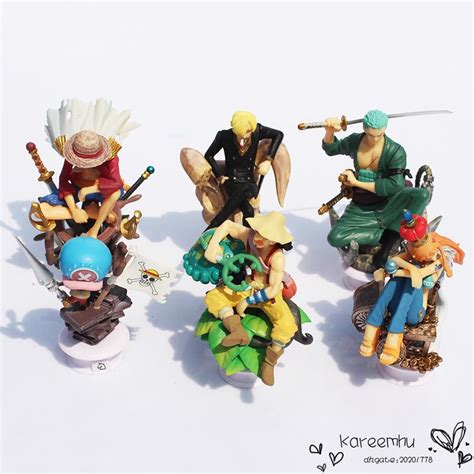 Figure Set One 6pcs Luffy Usopp Chopper Nami Franky Nico one chess figures luffy nami usopp chopper
