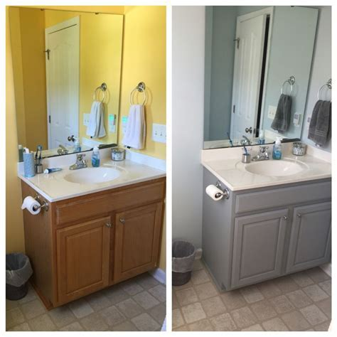 Before and after bathroom cabinet, Valspar Chalky paint in